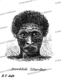 man with face tattooing from bowditch island (fakaofo), tregear, 1887