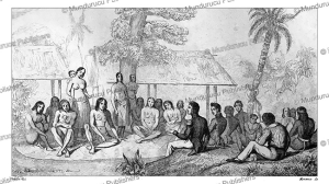 Tikopian chiefs receiving French officers, Victor Marie Felix Danvin, 1828   Photos and Images   Travel