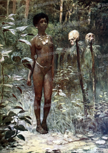 a tapu (sacred) virgin to be sacrificed before a war, solomon islands, norman hardy, 1907