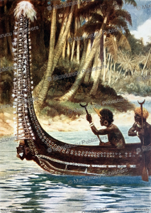 ingova headhunters with canoe showing the totoishu adornment, solomon islands, norman hardy, 1907
