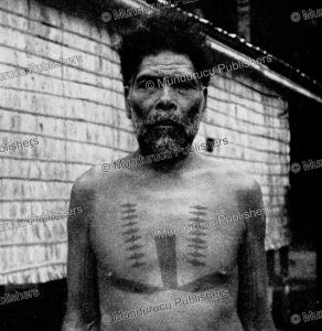 old man with tattoos of rennell island, solomon islands, kaj birket-smith, 1956
