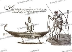 canoe with natives of moa, now banks island, isaac gilsemans, 1642