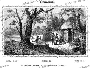 native spearing a bird, new caledonia, vanuatu, lisbet, 1834