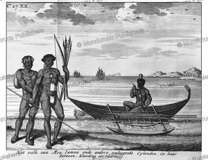 natives of moa, now banks island, f. ottens, 1726