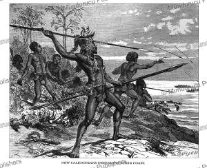 new caledonians defending their coast, johann baptist zwecker, 1870