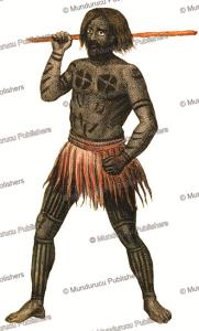warrior of gambier islands, de´moraine, 1839
