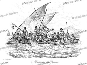 a raft of the gambier islands, louis auguste de sainson, 1838