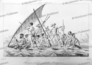 Raft with natives of the Gambier Islands, Felix Danvin, 1836 | Photos and Images | Travel