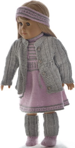 dollknittingpattern  0199d camilla - jacket, skirt, short-sleeved sweater, pants, hairband, socks and leggings-(english)