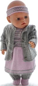dollknittingpatterns 0199d camilla - jasje, rokje, truitje met korte mouwtjes, broekje, haarband, sokjes en beenwarmers-(nederlands)