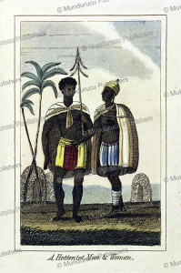 hottentot man and woman, 1831