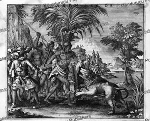 hottentots kill a man-eater lion, francois valentyn, 1776