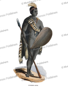 kaffir warrior, south africa, duverger, 1843