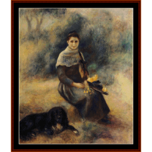 Young Girl with a Dog - Renoir cross stitch pattern by Cross Stitch Collectibles | Crafting | Cross-Stitch | Other