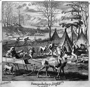 samoyeds hunting by sledge, nicolaas witsen, 1785