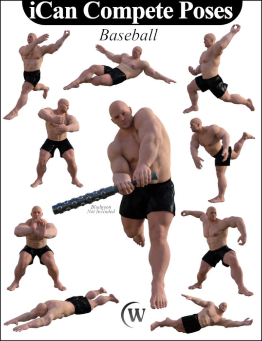 First Additional product image for - iCan COMPETE Sports Poses for The Brute 8 (Genesis 8 Male character)