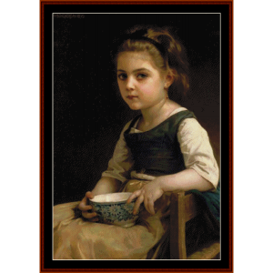 girl with blue bowl - bouguereau cross stitch pattern by cross stitch collectibles