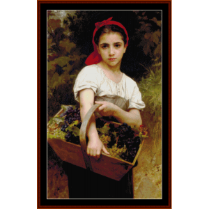 the grape picker - bouguereau cross stitch pattern by cross stitch collectibles