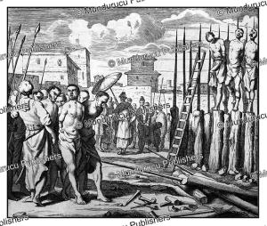 empalement of innocent people by the emperor of ceylon in 1638, philippus baldaeus, 1672