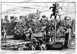 tartars worshipping a goat-skin, adam olearius, 1651