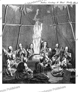burning of the remains of a mongolian priest (lama), simon pallas, 1776