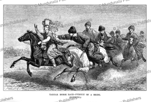 tartar horse race-pursuit of a bride, uzbekistan, john baptist zwecker, 1864