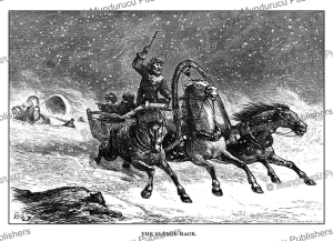 sledge race at night in mongolia, josiah wood whymper, 1883