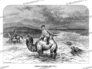 mongolian sheepherders  crossing the river tuul, josiah wood whymper, 1883