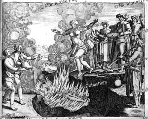 How a widow throws herself in the fire of her deceased husband, India, Theodor de Bry, 1619 | Photos and Images | Travel