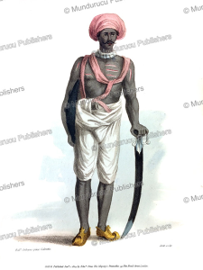 a prijbasi or guard of bankers and merchants, india, frans balthazar solvyns, 1804