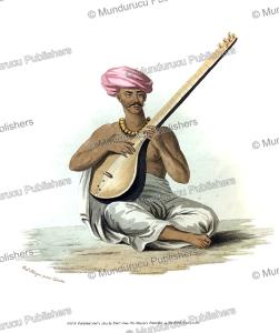 a sitar instrument, india, frans balthazar solvyns, 1804