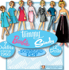 "tammy 12"" doll clothes pdf 6244 -gown, dresses, coat, suit, jumper, tops, pants, tee pdf barbie download e-pattern"