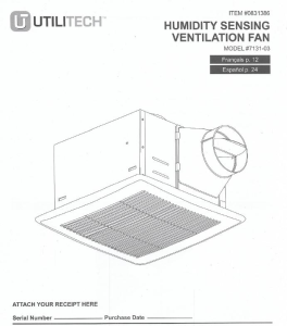 utilitech humidity sensing ventilation fan instructions