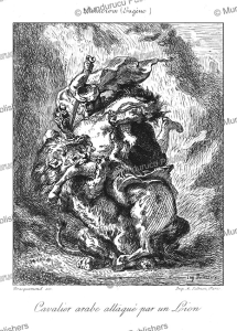 arab horseman attacked by a lion, euge`ne delacroix, 1872