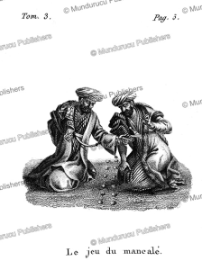 men playing one of the oldest known games, the mancala, arabia, f. massard, 1816