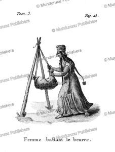 a woman churning butter, arabia, f. massard, 1816