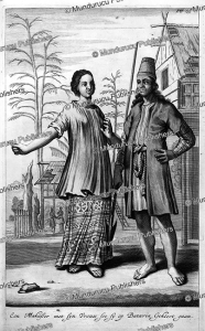 man and woman of makassar or celebes (sulawesi) with poisoned arrows, jan nieuwhof, 1652
