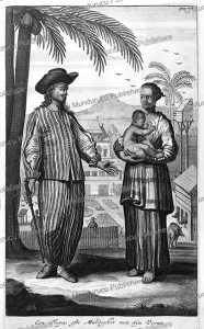 wealthy freed slave with his wife in malakka (dutch malay), jan nieuwhof, 1652