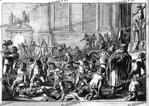 tapuya indians slaughtering and devouring portuguese at conjahu in brazil, jan nieuwhof, 1652