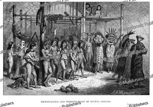 masked dance & wedding feast of ticuna indians, johann baptist zwecker, 1863