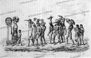 procession of ticuna indians, brazil, alcide d'orbigny, 1853
