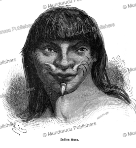 mura indian with teeth ornaments and cheek tattooing, e´douard riou, 1867