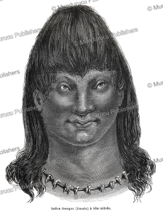 omagua indian with a distorted head, brazil, e´douard riou, 1867