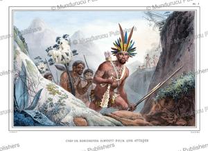 bororo chief preparing for attack, brazil, jean baptiste debret, 1835