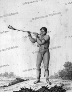 amazonian indian playing a flute, c. 1700