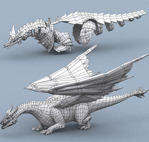 battle dragon mount fantasy reptile lowpoly 3d