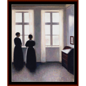 figures by the window - hammershoi cross stitch pattern by cross stitch collectibles