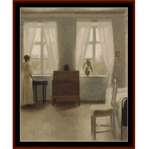 in the bedroom - hammershoi cross stitch pattern by cross stitch collectibles