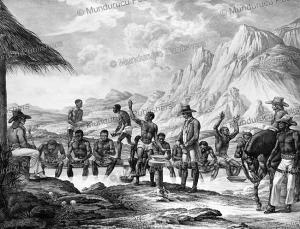 slaves washing diamonds in minas gerais, brazil, spix and martius, 1823