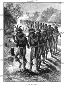 Roucouyenne Indians Yaripo (Brazil) dance the Toule´ in honour of a deceased, near French Guiana, E´douard Riou, 1883 | Photos and Images | Travel